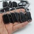 Natural Negro Turmalina Piedra Nugget con Cuerda Trenzada de Cobre Colgantes 20mm ~ 30mm
