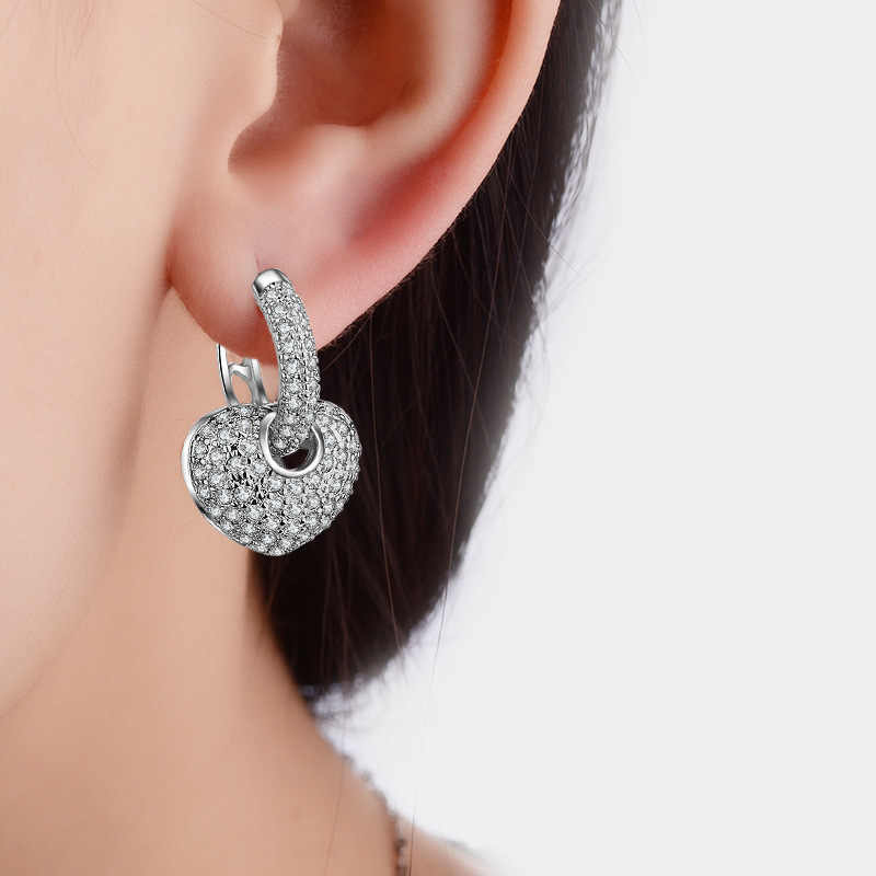 High Quality Heart Earrings For Women Hoop Earings With Stones 925 Sterling Silver Detachable Earring Woman Bridal Jewelry