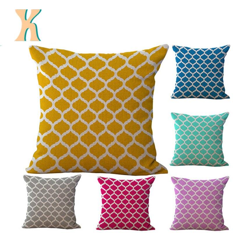 Retro Geometry Cotton Linen Quatrefoil Accent Decor Cushion Cover Square Sofa Cushion 18 ...