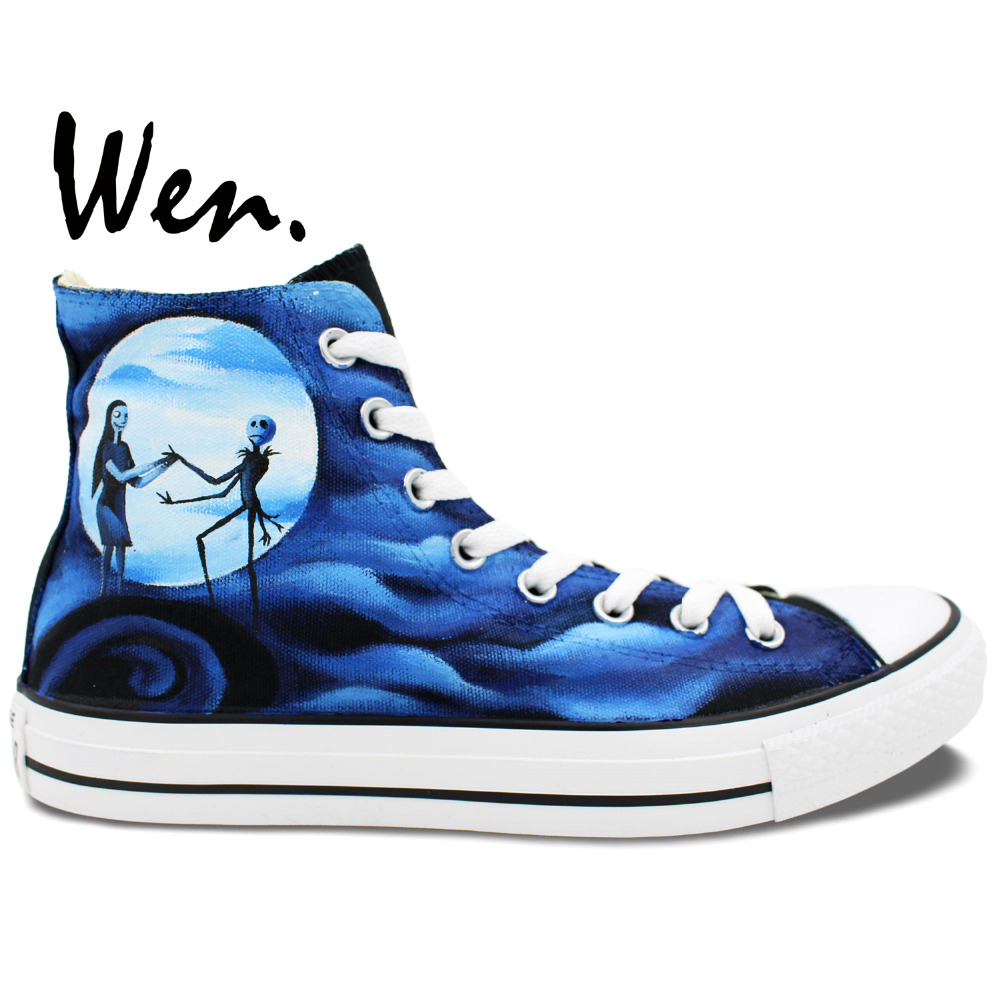 ФОТО Wen Blue Hand Painted Canvas Shoes Design Custom Nightmare Before Christmas High Top Men Women's Canvas Sneanekrs