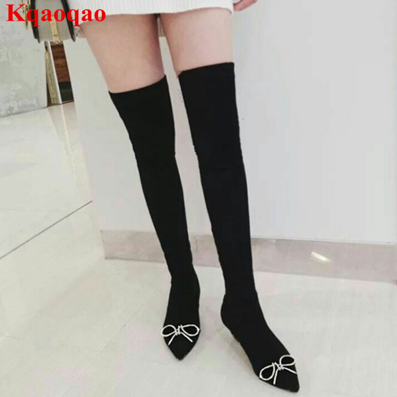 Pointed Toe Women Boots Crystal Embellished Butterfly Knot Sapato Feminino Brand Spring Sock Boots Stretch Fabric Over Knee Boot