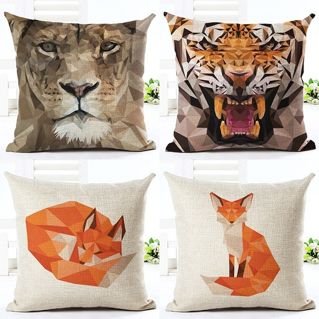 Cojines Tiger.Us 2 79 44 Off 45x45cm Throw Pillow Cushion Houseware Sofa Bed Chair Animal Tiger Fox Printed Linen Cuscino Square Cushion Cojines Almohadas In