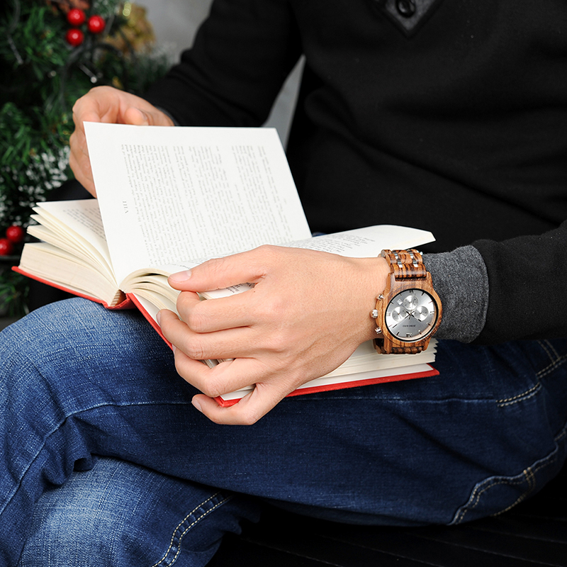 BOBO BIRD Wooden Watch Men relogio masculino Wood Metal Strap Chronograph Date Quartz Watches Luxury Versatile