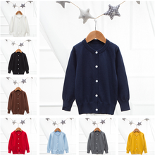 8 color Kids Sweater 2019 Autumn Long Sleeve Warm Spring Knitted Cardigan Sweater boys Girls Pullover Top Button Heart Sweater