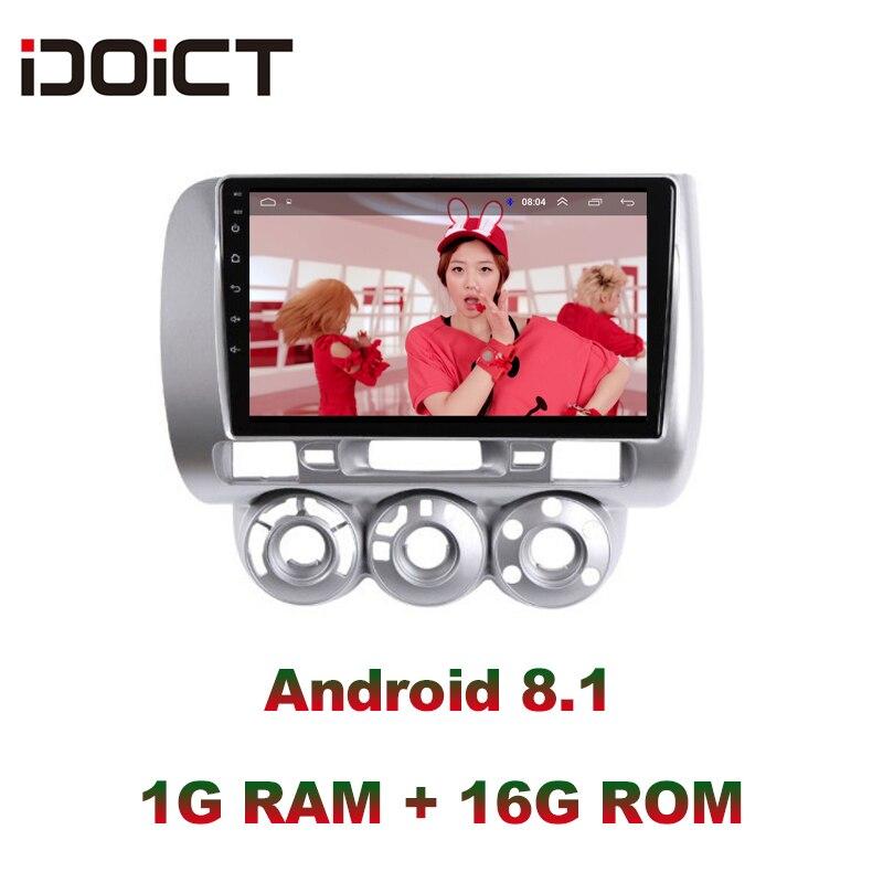 IDOICT Android 8.1 lecteur DVD de voiture GPS Navigation multimédia pour Honda Fit Jazz Radio LHD 2004 2005 2006 2007 autoradio