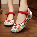 New Chinese Ethnic Style Dragon Embroidery Cloth ShoesWoman Ladies Casual Mary Jane Denim Canvas Flats Women's Flat Mother Shoes