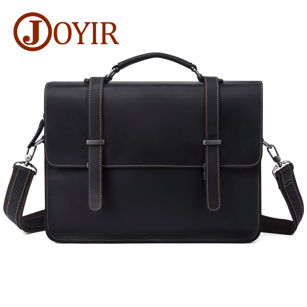 все цены на Genuine Leather Men Bags Crazy Horse Leather Handbags Briefcase Business Bags Laptop Shoulder Bag Messenger Bag онлайн