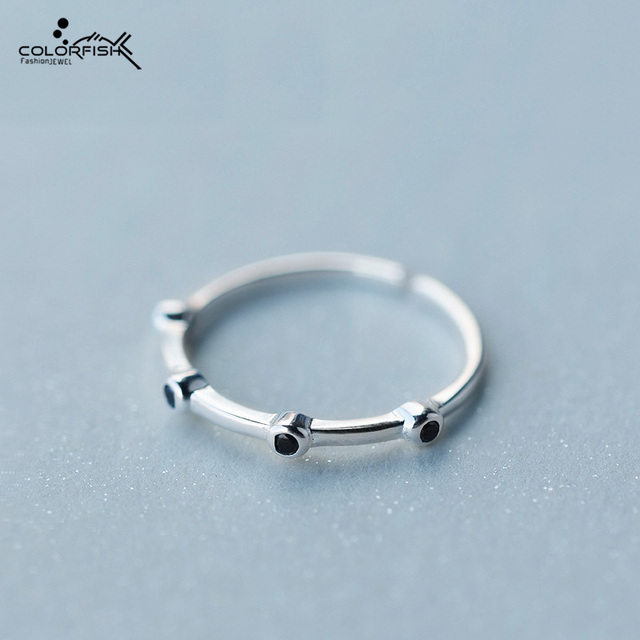Fashion Adjustable Ring For Women 925 Sterling Silver Simple Black Small Cz Diamond Ring Female Party Jewelry Finger Rings Open