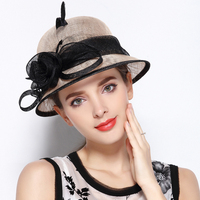 Adult Youth Fedoras Linen Hat Sun Protection Fedoras Cap Girls Contrasting Flowers Elegant Cap Breathable Cool Beach Cap B 8706