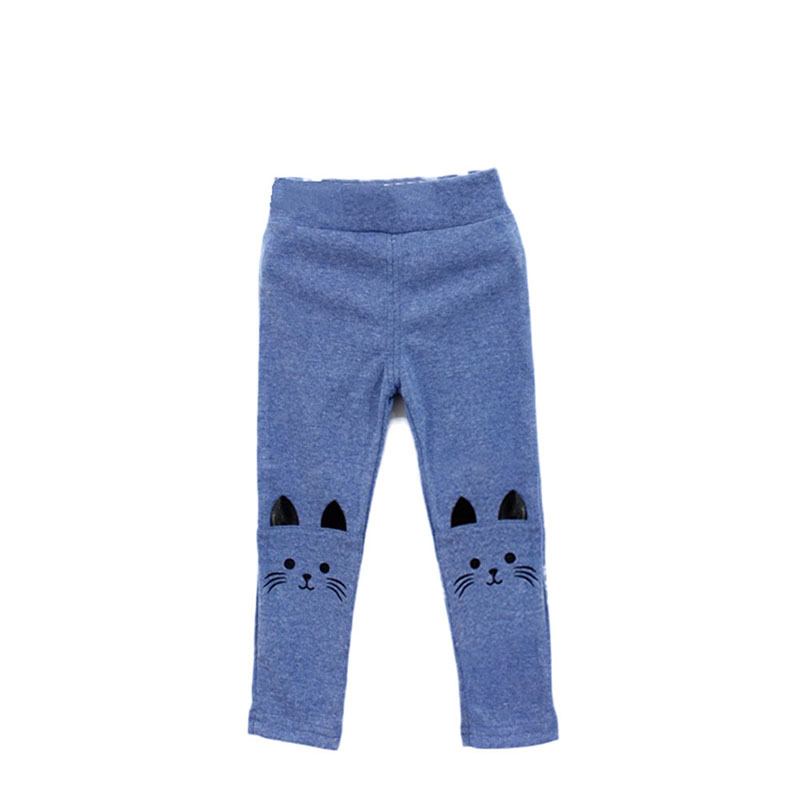 1 предмет, милые обтягивающие штаны для маленьких девочек, новые эластичные теплые леггинсы с принтом кота - Цвет: Синий
