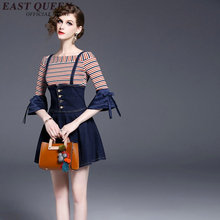 2017 Denim dress Jeans causal sundress Slash neck Above Knee Mini Flare Sleeve Striped dress KK740 YX
