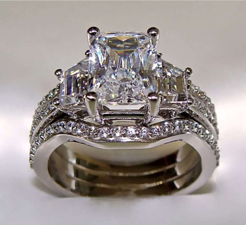 Choucong Wieck Princess cut 5ct 5A CZ simulated stones 10KT White Gold Filled 3-in-1 Engagement Wedding Ring Set Size 5-11 Gift