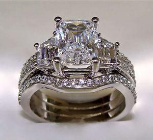 Image 1 - Choucong Wieck prenses kesim 5ct 5A CZ simüle taş 10KT beyaz altın dolgulu 3 in 1 nişan düğün yüzük seti boyutu 5 11 hediye
