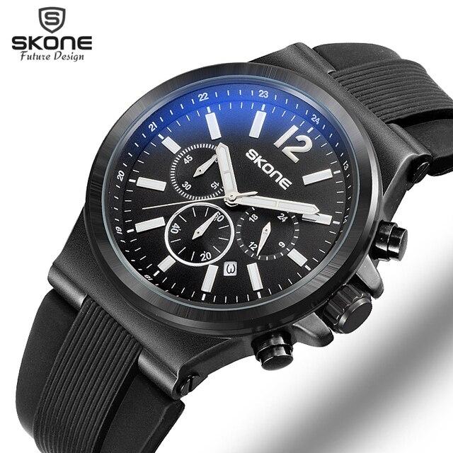 SKONE Fashion Chronograph Sport Mens Watches Top Brand Luxury Quartz Watch Reloj Hombre 2017 Clock Male hour relogio Masculino