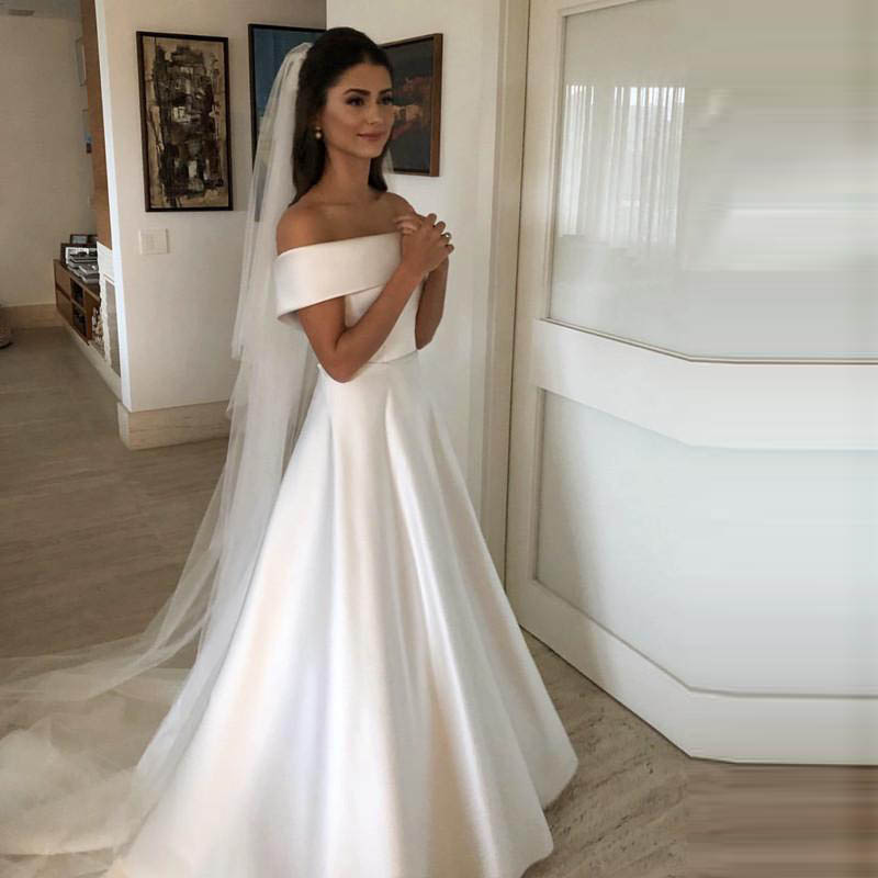 White Boat Neck Evening Dress Long Elegant Satin Prom Gowns Party Gowns Evening Gown Abendkleider Abiye Robe De Soiree