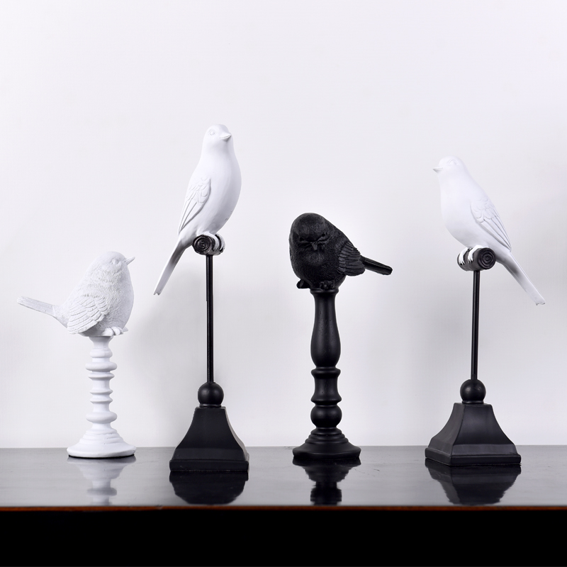Black White Creative Resin Cute Birds Figurines Bar Vintage Statue Home Decor Crafts Room Decoration Objects Animal Figurines