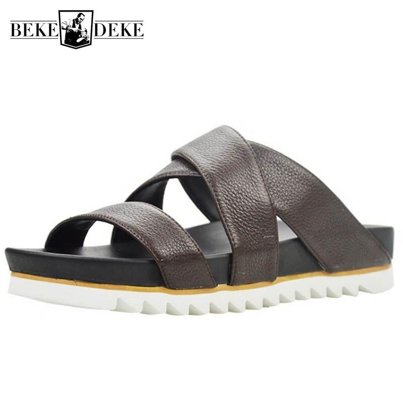 Top qualité hommes plate-forme en cuir véritable pantoufles d'été plage tongs Sandalias hauteur augmentant creux intérieur extérieur sandales