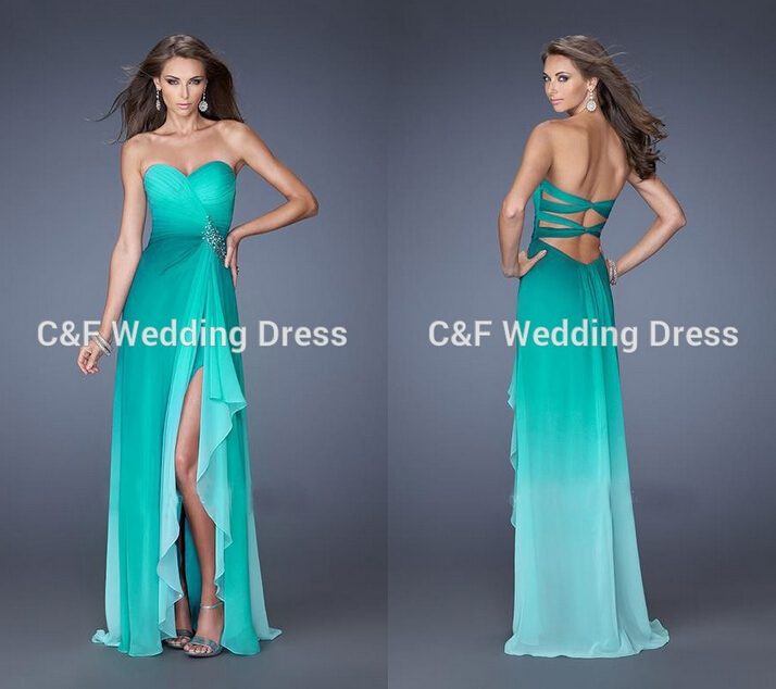 New Design Ombre Peacock Green Chiffon Prom Dresses Strapless A line ...