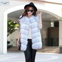 Real Fur Vest 2018 Fashion Winter Thick Silver Fur Coat Jackets for Women Sleeveless Medium Long Genuine Fur Vest Colete De Pele