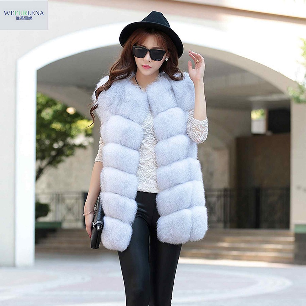 Real Fur Vest 2018 Fashion Winter Thick Silver Fur Coat Jackets for Women Sleeveless Medium Long