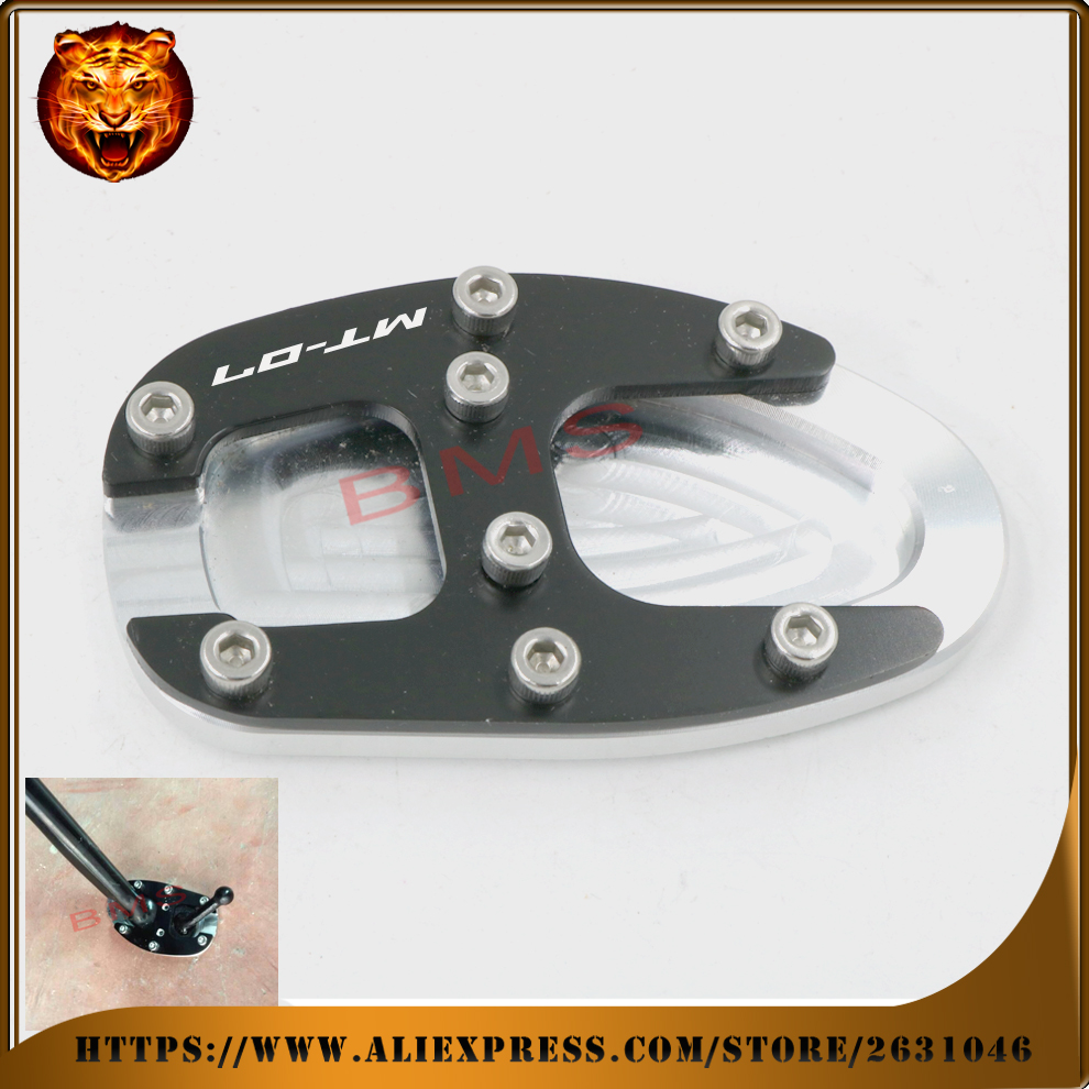 Motorcycle CNC Aluminum Side Kickstand Stand Extension Support Plate For YAMAHA MT-07 MT07 side-stand foot 2014-2016 Accessories  for yamaha mt09 mt 09 mt 09 2013 2015 2014 new motorcycle parts kickstand foot side stand enlarge extension pad support plate