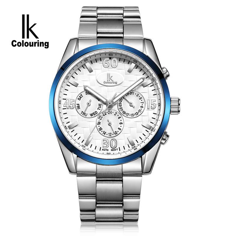 IK Colouring Week Date 24 Hours Sub Dials Automatic Mechanical Watches Full Steel Luminous Brand Sports Men Watch relojes hombre ik brand luxury automatic mechanical watches men sub dial function date 24 hours display genuine leather skeleton watch relojes