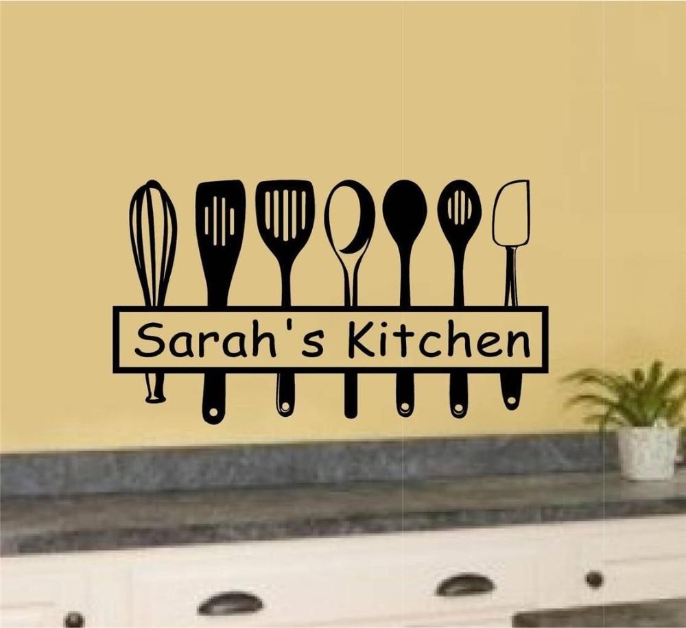 Creative Custom Name Kitchen Utensils Vinyl Wall Decal Kitchen Tools ...