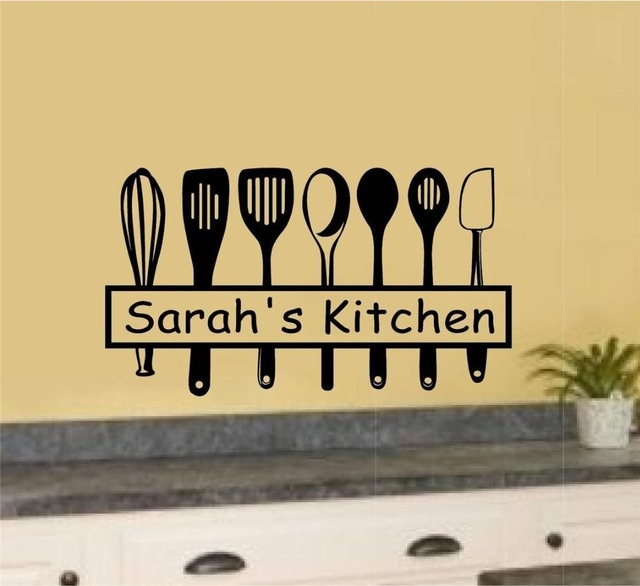 Creative Custom Name Kitchen Utensils Vinyl Wall Decal Kitchen Tools ...