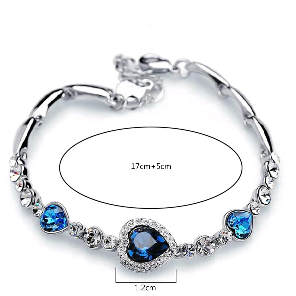FAMSHIN Hottest Womens Ladies Crystal Rhinestone Bangle Ocean Blue Bracelet Chain Heart Jewelry Party Gifts