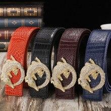 Belt 2017 Hot Fashion Cowhide Leather men belt  Luxury Famous  designer belts men high quality  diamond buckle men Belts for men
