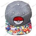 Anime Pokemon Pokébola Snapback Caps Adulto Hop Chapéus chapéu para Mulheres Dos Homens Boné De Beisebol Cinza