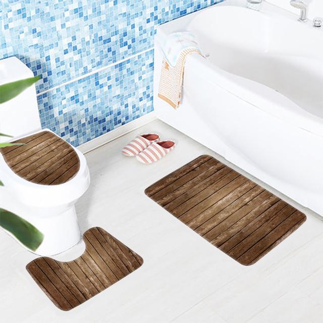 Clic Bathroom Mat Sets 3pcs Wood Boards Pattern Anti Slip Bath Soft Shower And