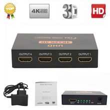 4K Ultra HD HDMI Splitter 1x4 Port 3D UHD 1080p 4K*2K Video HDMI Switch Switcher HDMI 1 Input 4 Output HUB Amplifier Repeater(China)