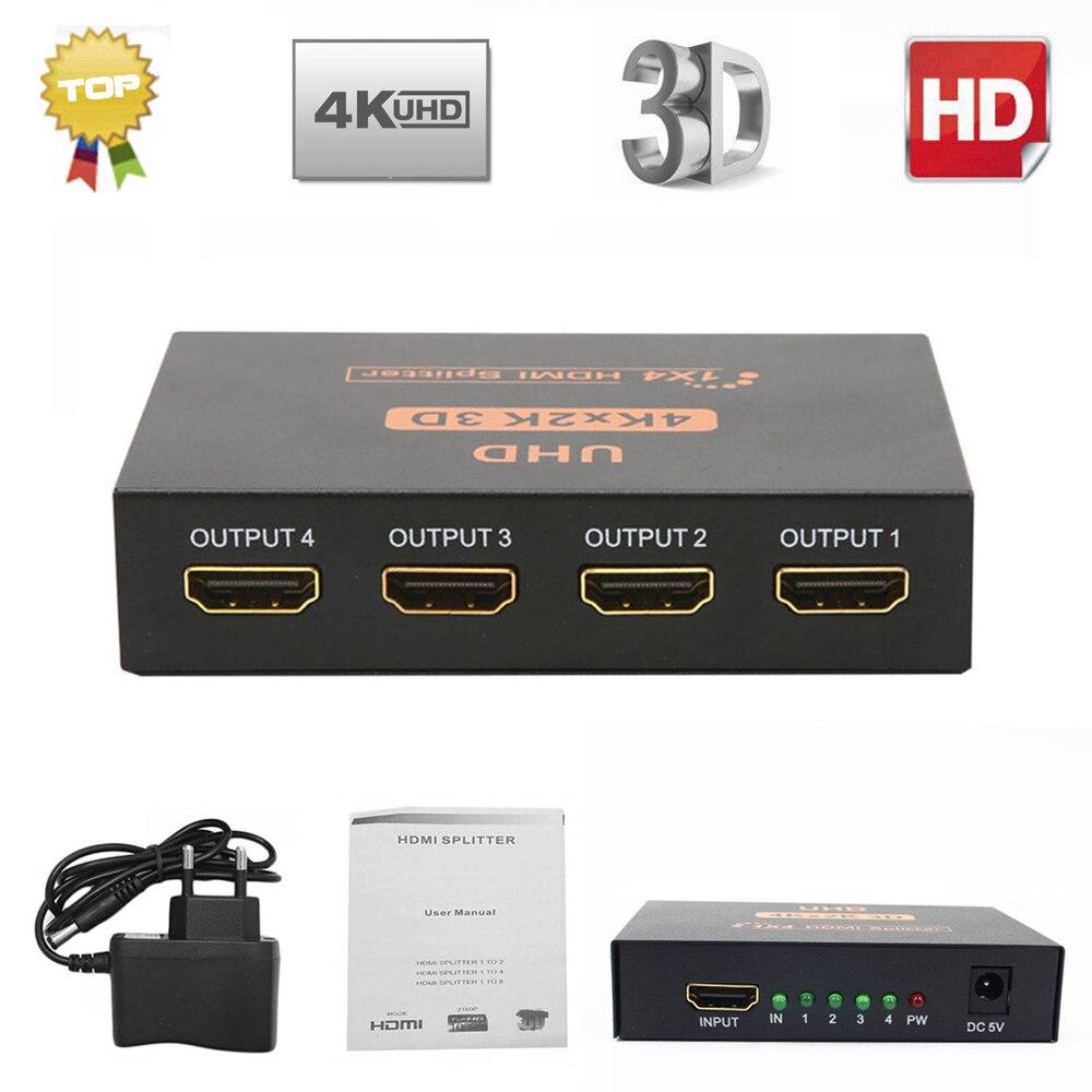 Ultra HD 4 K HDMI Splitter 1X4 puertos 3D UHD 1080 p 4 K * 2 K Video HDMI interruptor HDMI 1 entrada 4 salida HUB amplificador