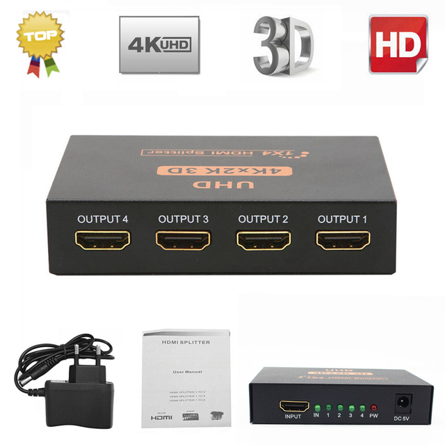 Ultra HD 4K HDMI Splitter 1X4 Port 3D UHD 1080p 4K*2K Video HDMI Switch Switcher HDMI 1 Input 4 Output HUB Repeater Amplifier