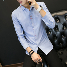 2017 spring men's New , Fashion Men's Casual Long-Sleeved Shirt, High-quality Solid Color Shirt, Large size Slim Business Shirt