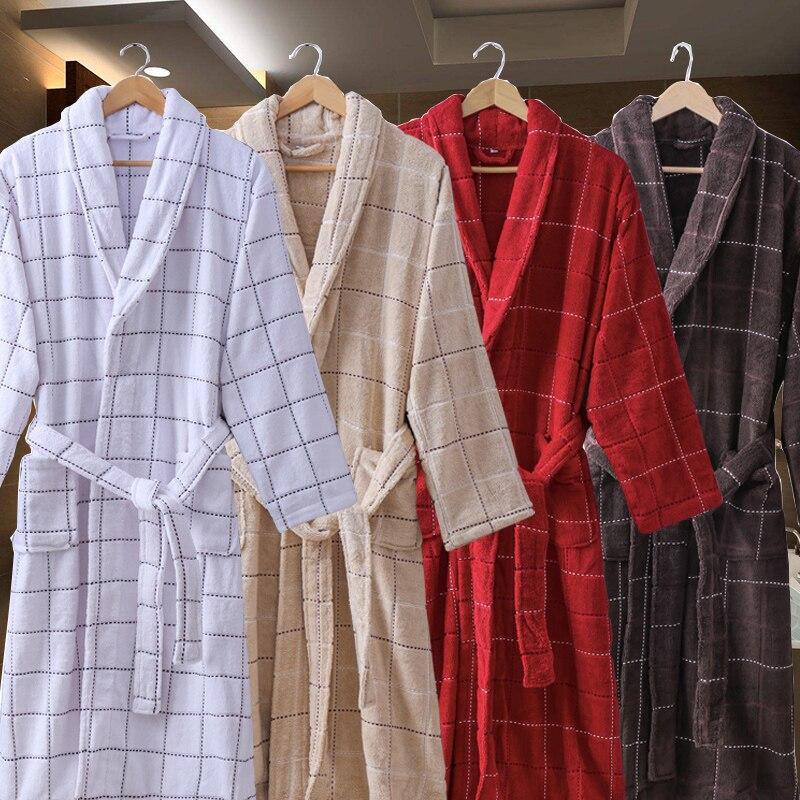 Autumn Winter Men Bathrobe Thick Long Robe Lovers Cotton Male Robe Plus Size XXL Soft Warm Mens Bathrobe Velvet Mens Robe White