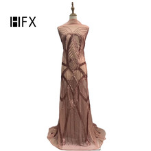 African Lace Fabric Latest Style Pink 2019 High Quality Fashion French Tulle Nigerian Sequin Fabrics F1673