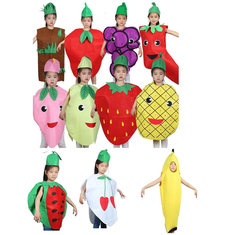 Fashion Unisex Children Fancy Dress Cartoon Fruit Vegetable Kid Costume Suits Party Outfit Boy Girl Performance Clothes Dg88