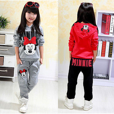 2pcs Baby Girls Kids Minnie Mouse Clothes Set Long Sleeve Hooded Coat Pants Oufits Clothes Set 2-7Y(China)