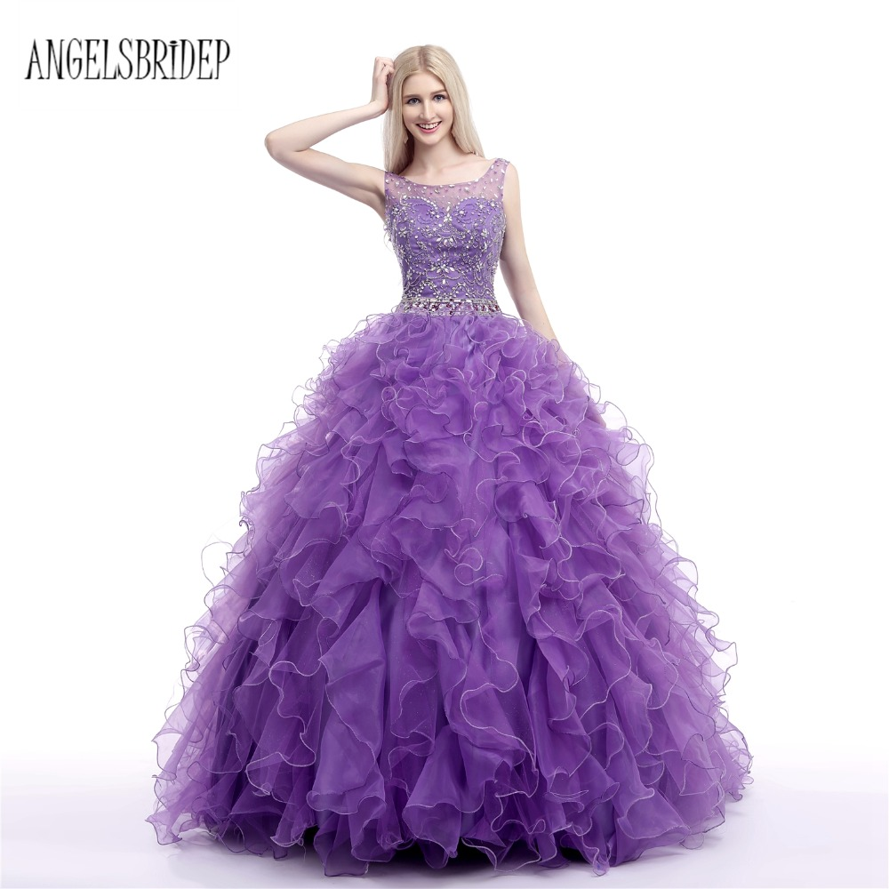Online Shop ANGELSBRIDEP Purple Vestido Debutante Gowns Ball Gown  Quinceanera Dresses Sheer Neck Tulle Crystal Sweet 16 Dress  7c01bc66a0ab