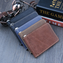 cowhide Genuine Leather Quality Men Money Clip Black Billfold Clamp For Money With Card Hold Luxury Credit Card magic Wallet