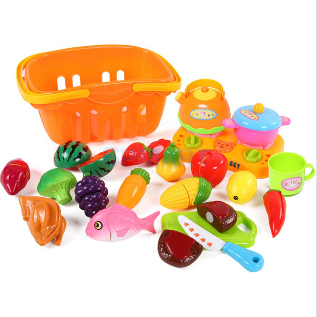 20Pcs Plastic Children Cut Up Fruit Shopping Grocery Food Toy Set Kid Play