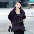 Luxury Autumn Winter Women Genuine Real Knitting Mink Fur Shawls Wraps Stoles Pashmina Lady Outerwear