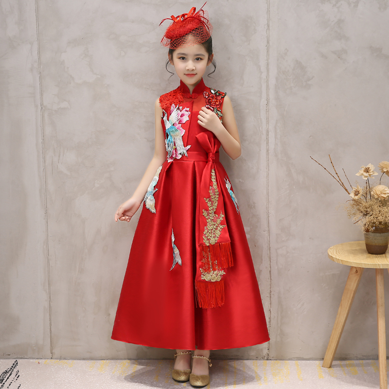 Chinese Style Children Girls Cheongsam Emboridery Kids Girl Costume Luxury Vintage Red Dresses Banquet Party Vestido S303 все цены