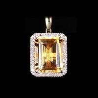 SI Natural Diamonds Emerald Citrine Solid 10k Yellow Gold Women Charm Pendant