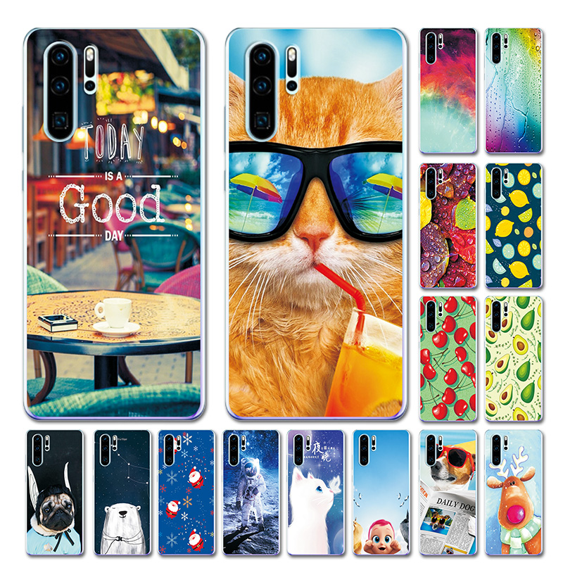 Phone Case For Huawei P30 Pro Funny Cats Patternd Cover VOG-L29 ELE-L29 TPU Case Fundas For Huawei P30 Pro Brilliant Color 6.47""