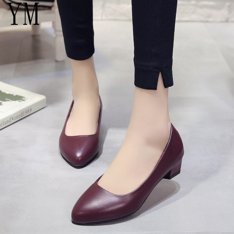 Women Pumps Fashion Classic Sheepskin Low High Heels Shoes Wine Sharp Head Paltform Wedding Women Dress Shoes Plus Size 35-40
