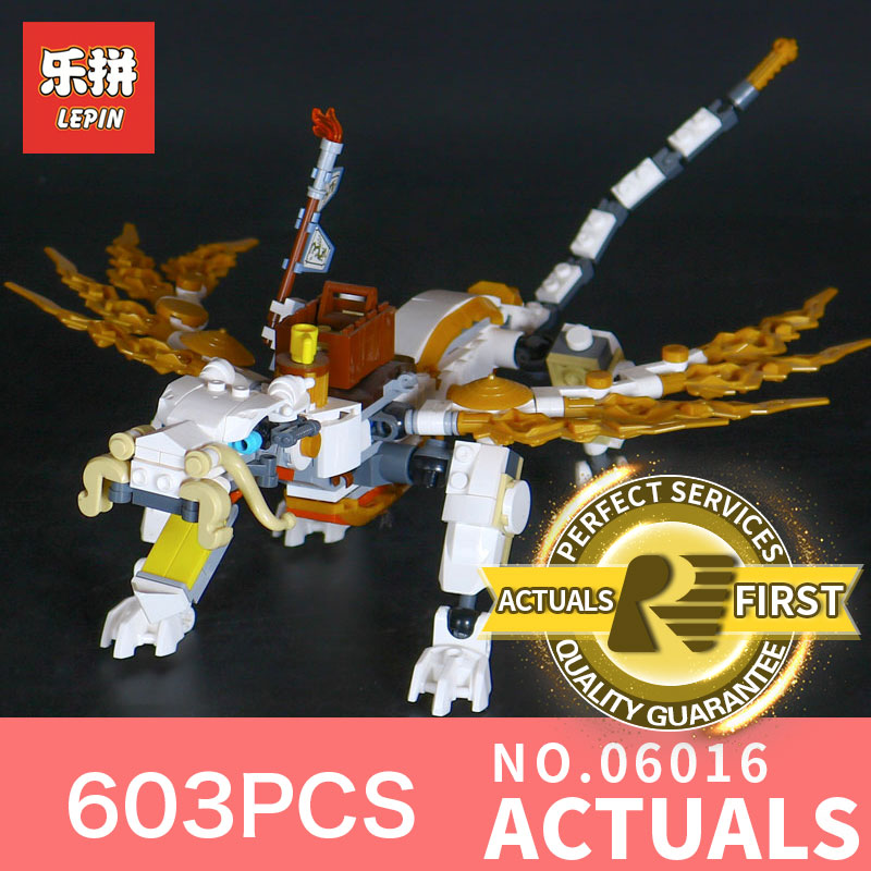 603Pcs LEPIN 06016 Genuine Movies Series White Dargon Marvel Building Blocks Bricks Toys 70734 Action Assembling for Children