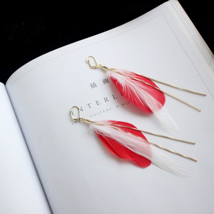 Long Design Bohemia Tassel Red Big Feather Drop Earrings Gold-color Long Chain Ear Hook 2017 New Jewelry